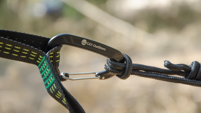 It's easy to clip the carabiners that come with the hammock to one of the sixteen, adjustment  loops of the Quick Link Tree Straps