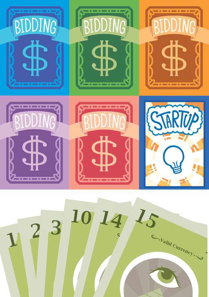Top, the backs of the other players' cards and the startup deck, middle, what your hand might look like a few rounds into the game, below, some startups