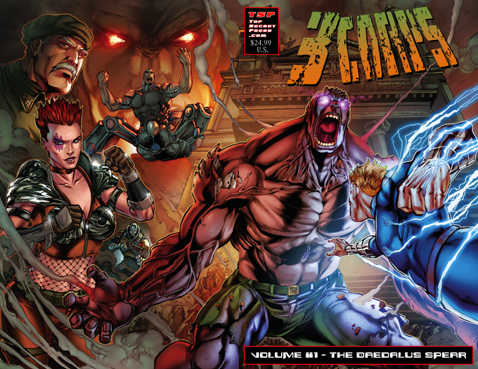 3CORPS Vol. 1 TPB Cover A - 156 pages of Full Color gloss pages!  Cover by Rafael Lanhellas (Pencil), Sandro Ribeiro (Ink) and Ivan Nunes (Colors)