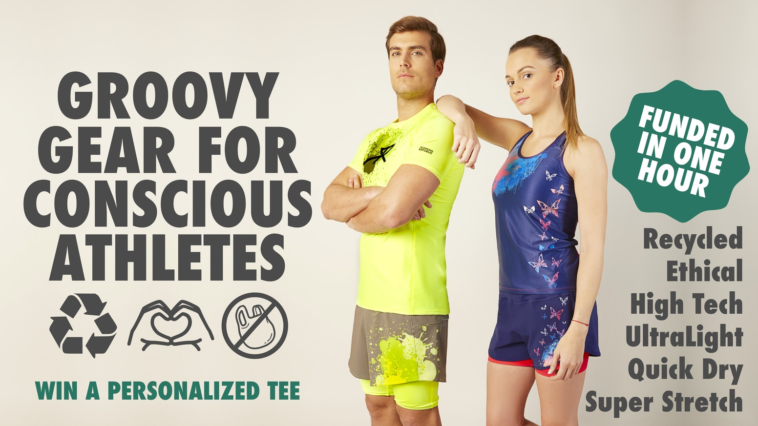 High tech | Recycled | Quick Drying | Uv Protection | 4-way stretch | Odorless. The athletic brand for conscious people.