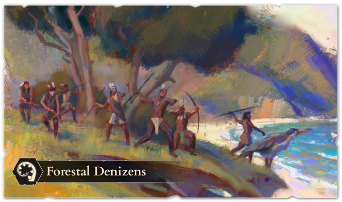 Seeking to fund the protection of their vast forested homeland, the forestal druids and rangers travel to the frontier to offer their expertise in wilderness navigation. They easily adapt to any environment, set traps, and call upon the flora and fauna to aid them on the battlefield.