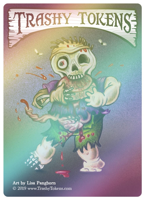Full Art Foils will only be available right here. (Note that the zombie art used on this Kiskstarter and other marketing material is not the final art, but will be very similar.)