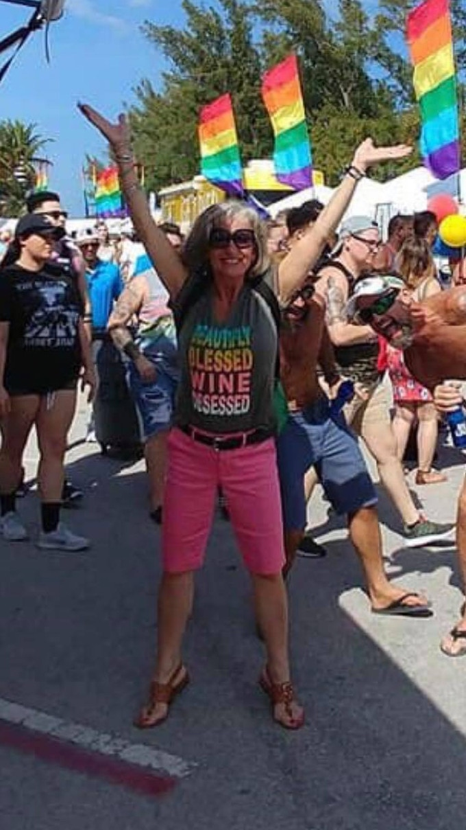 a picture of my mom at a gay pride parade - this would have never happened years ago! She is awesome, isn't she?
