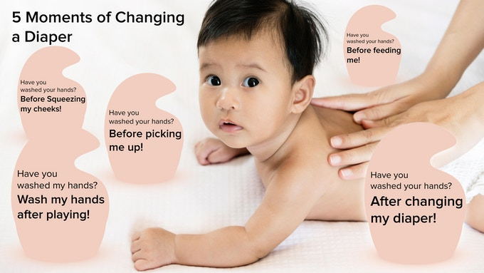 The 5 moments of changing a diaper