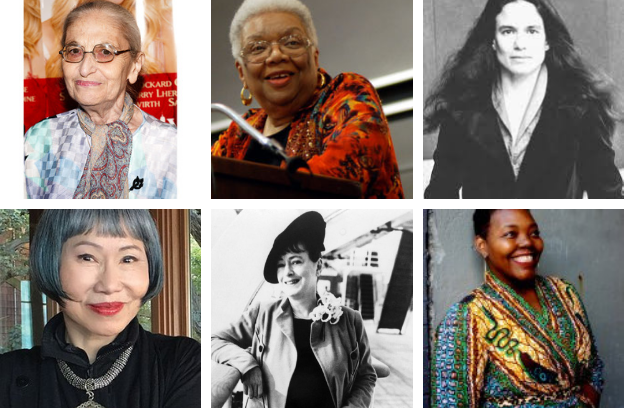 CHOICE WORDS contributors Ruth Prawer Jhabvala, Lucille Clifton, Sharon Olds, Amy Tan, Dorothy Parker, and Mahogany L. Browne