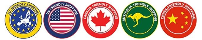 EU-friendly shipping, US-friendly shipping, Canada-friendly shipping, Australia-friendly shipping, China-friendly shipping