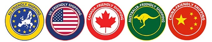 EU-friendly shipping, US-friendly shipping, Canada-friendly shipping, Australia-friendly shipping, China-friendly shipping