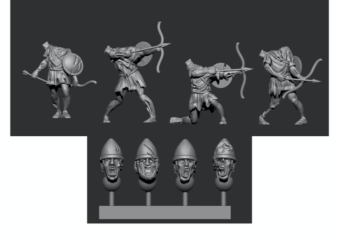 Greek Pack 3 - Shields are already attached to the            bodies of the miniatures in this pack!