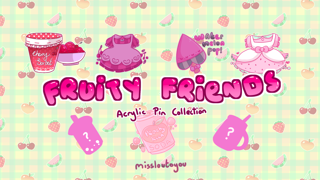 Project image for Fruity Friends Acrylic Pin Collection!