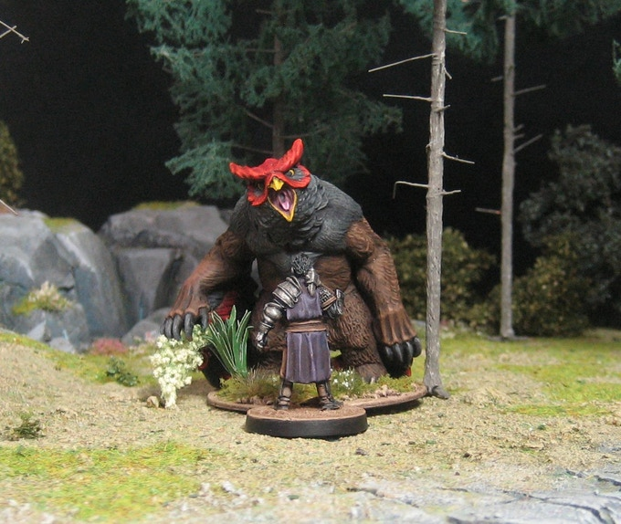 That's him (painted as Chicken / Lujador - Bear!) with a 28mm MIni.