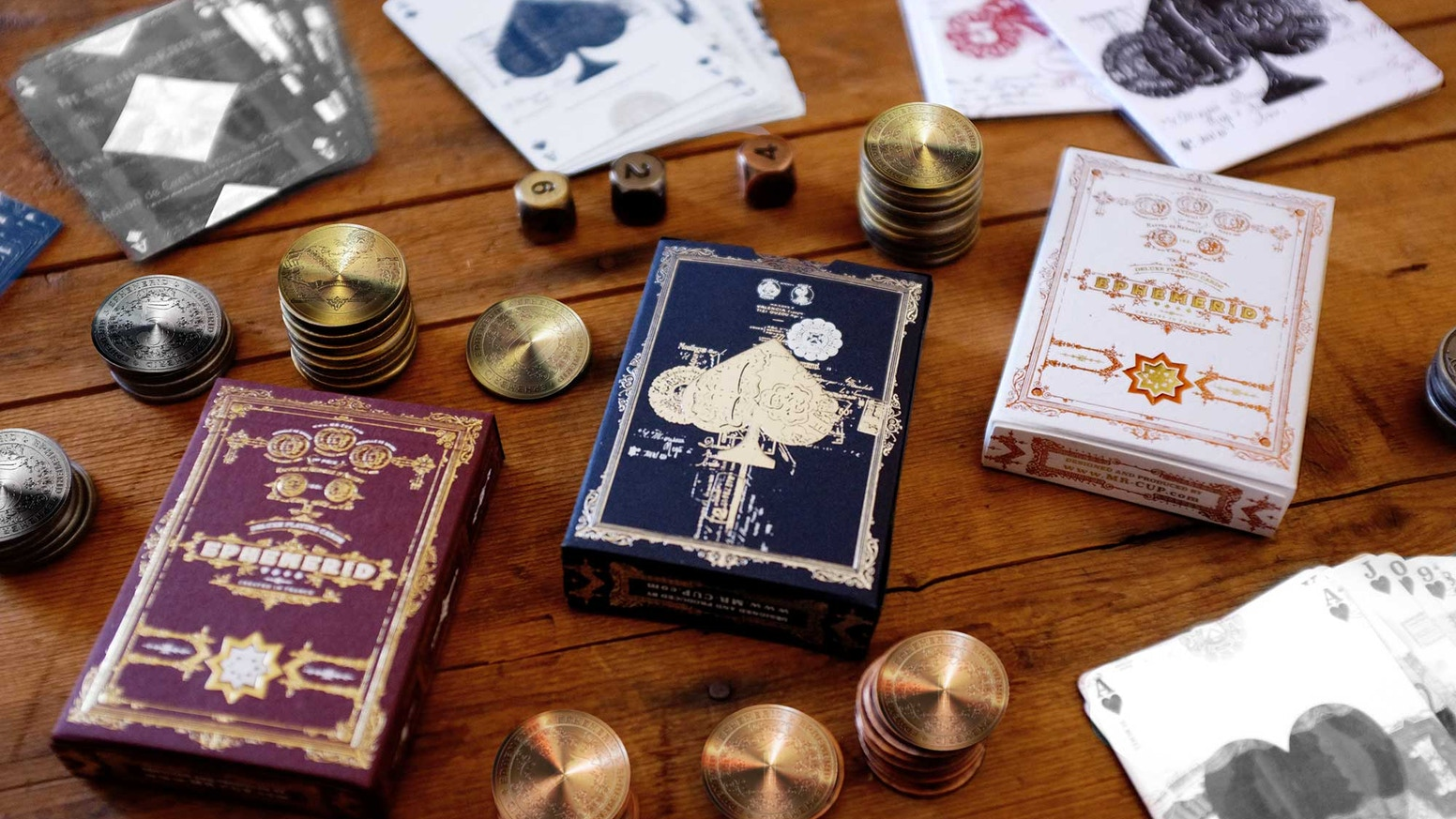 GOLD/SILVER/COPPER edition of the EPHEMERID playing cards, with precious metal coins and dices. With an ultimate box set edition.