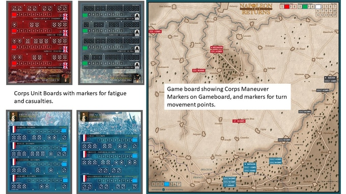Possible opening set-up (Note:  The player aid screen would be setup between the Corps unit boards to provide fog of war).