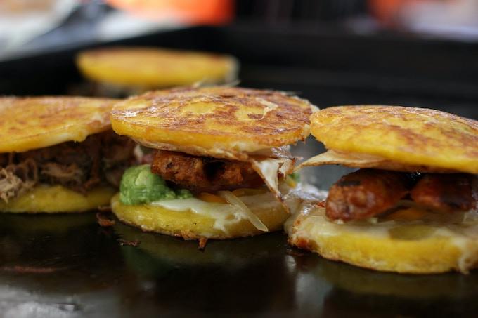 Chorizo, egg, and avocado Arepas YUM!