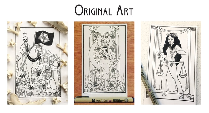 Original Art from left to right: Death, The High Priestess, Justice