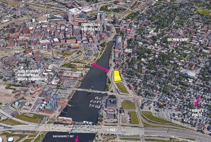 Site location near downtown Providence and new pedestrian bridge