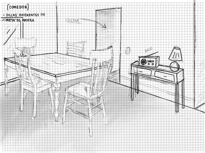 Boceto de la casa del personaje principal / / Sketch from the main character's house