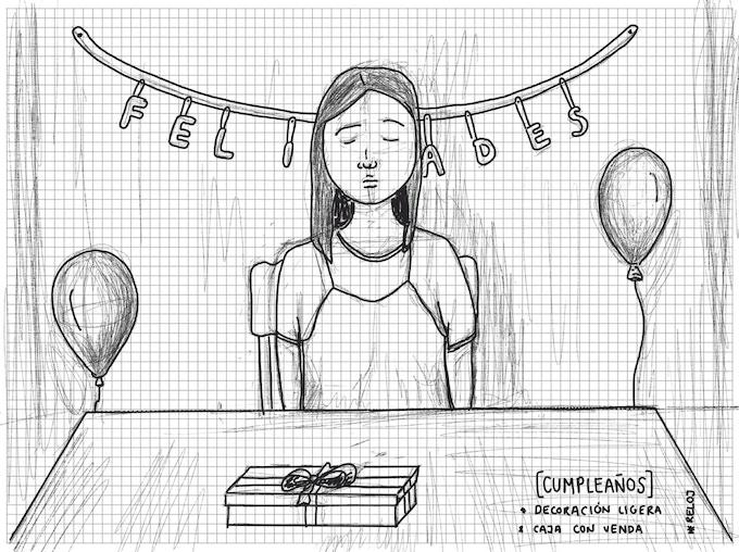 Boceto de la escena del cumpleaños de Leonora / / Sketch from the scene of Leonora's birthday