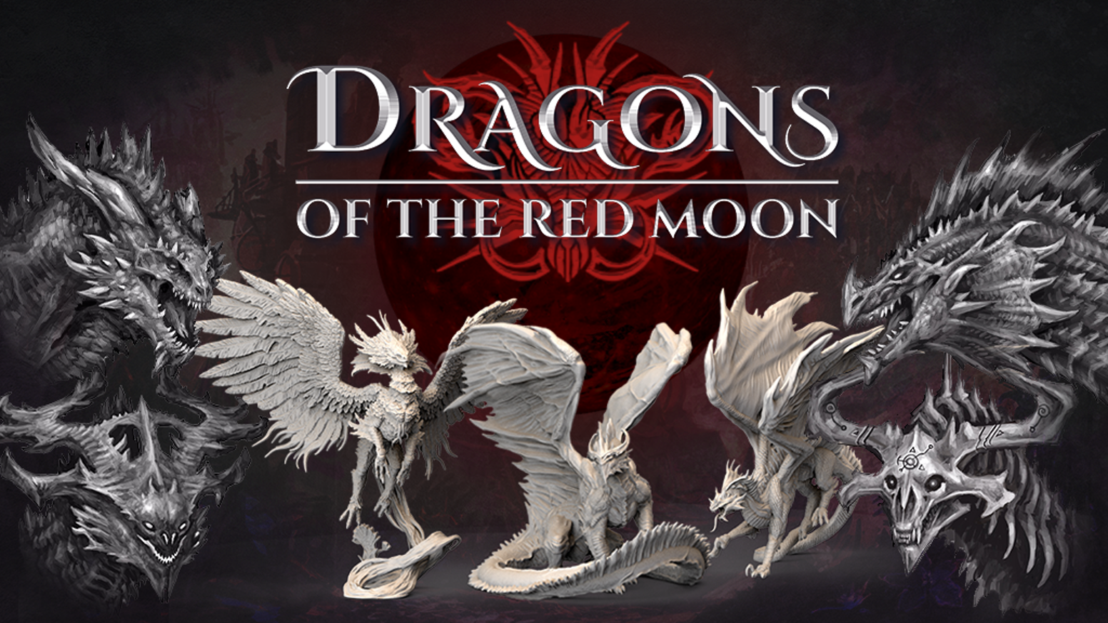 200mm gargantuan dragons from the Red Moon unlike anything you have ever seen. Resin miniatures compatible with 5e and the 9th age.