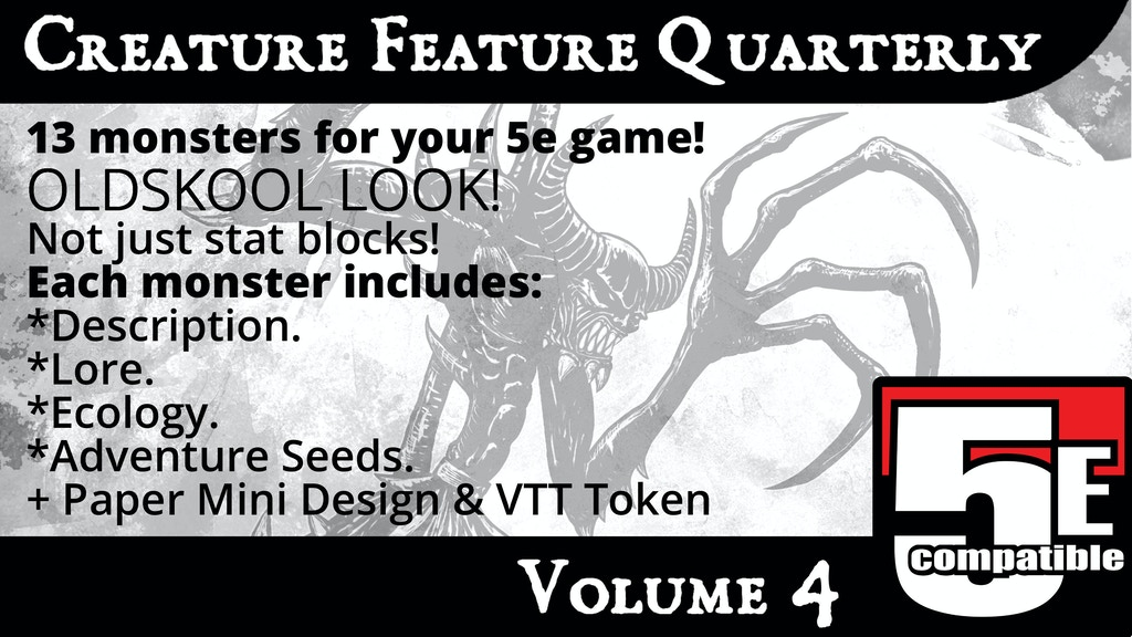 Creature Feature Quarterly Vol. 4 (5e compatible) project video thumbnail