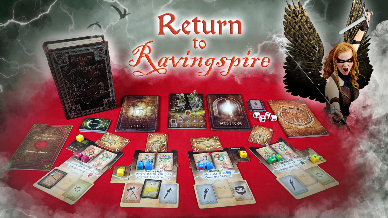 A cooperative questing dice-battle board game in a land of Swords and Sorcery. For 1-4 Players.