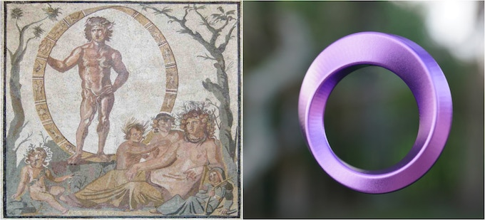 Left: The earliest known picture of a Mobius Strip, 3rd century Roman mosaic. It is on display in the Glyptothek Museum in Munich. The standing individual is Aeon, Greek god of time.