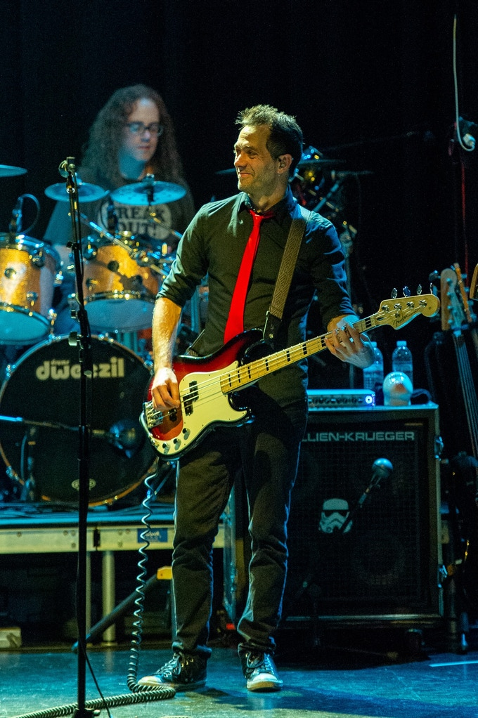 Kurt Morgan with drummer Ryan Brown on Dweezil Zappa's Choice Cuts tour,  2018