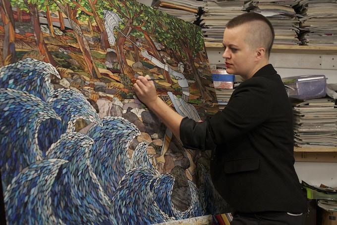 Anna U Davis in her studio