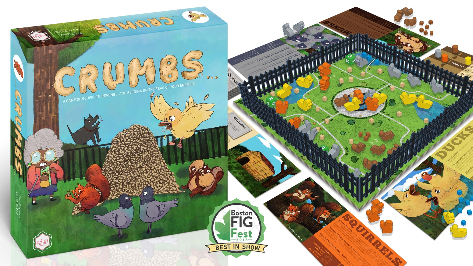 A 2-4 player area control board game where players scuffle over breadcrumbs in a city park as ducks, pigeons, squirrels or chipmunks!