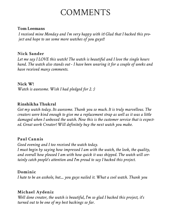 Feedback from the 1st Kickstarter campaign