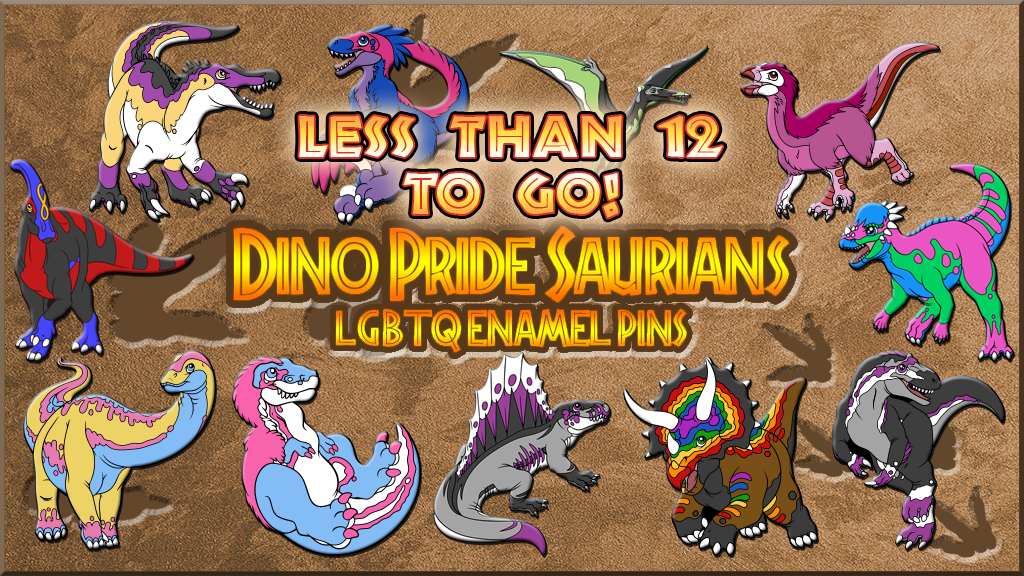 Various LGBTQ+ themed Dinosaur Hard Enamel Pins