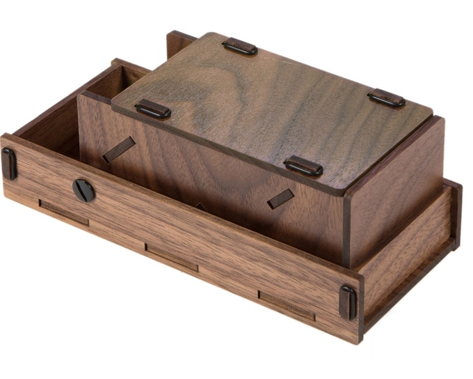 Walnut Premium; closed profile w/lid in closed storage position