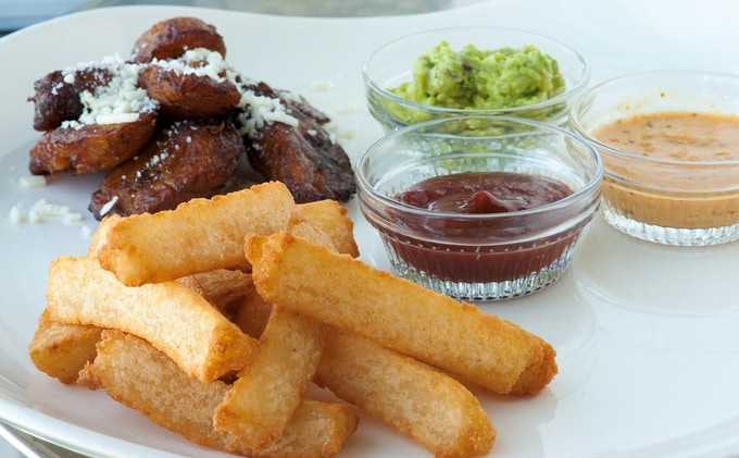 Yucca fries and fried sweet plantains, some of the sides we will offer