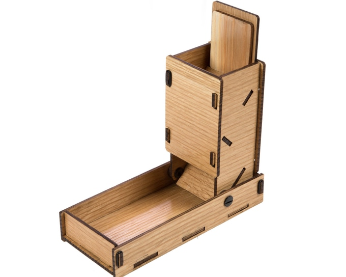Oak; open profile, w/lid in open position