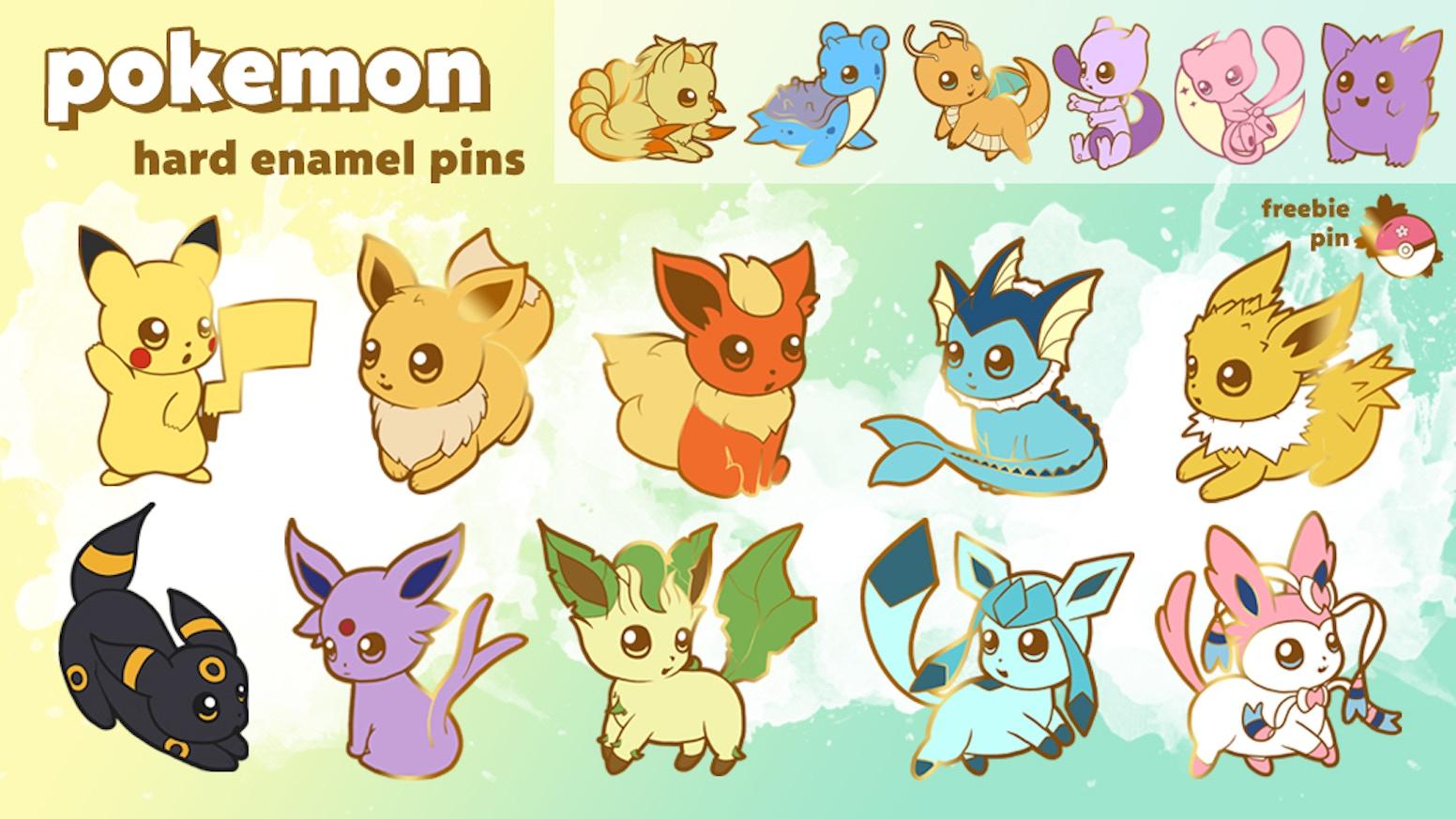 POKEMON Pikachu, Eevee & eeveelution Hard Enamel Pins by