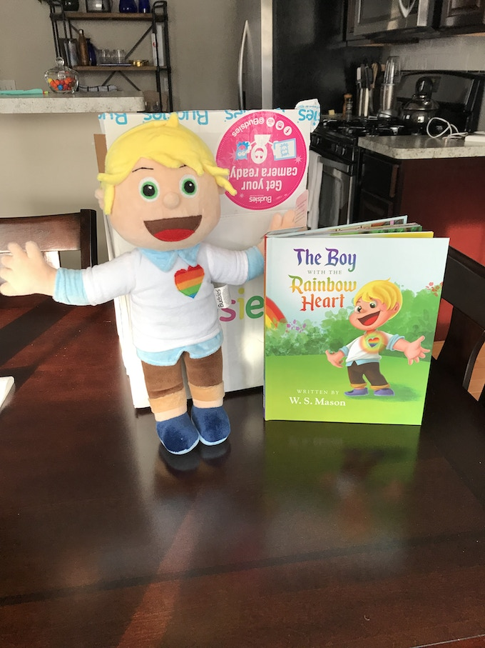 some of the fun rewards - the original book and a plush of the boy!