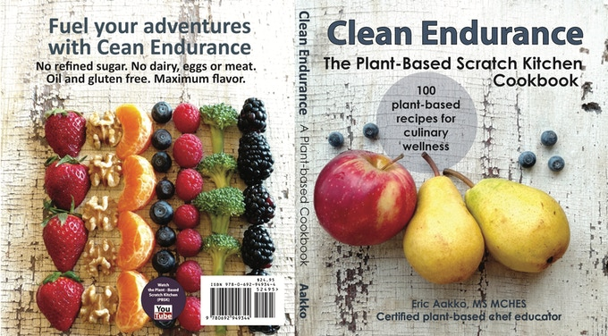 Clean Endurance Cookbook. Front and back cover. Actual cover is a bit brighter with a glossy finish. The cover is very durable and the printing company uses this type of heavy bonded paper for other cookbooks.