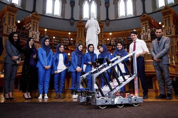 Afghan Girls Robotics Team Meet Canadian Prime Minister Justin Trudeau (photo source: Stemettes Facebook)