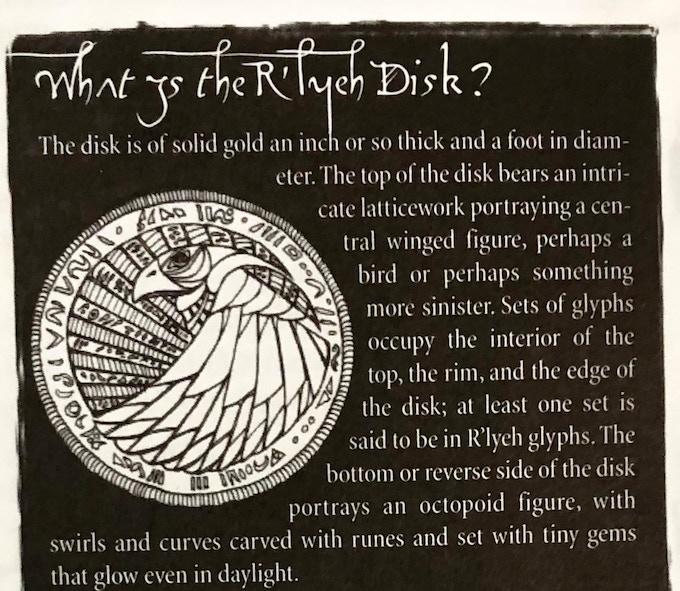 Disk of R'lyeh Description From Shadows of Yog-Sothoth