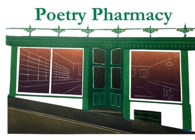 Linoprint of the Poetry Pharmacy by Drusilla Cole
