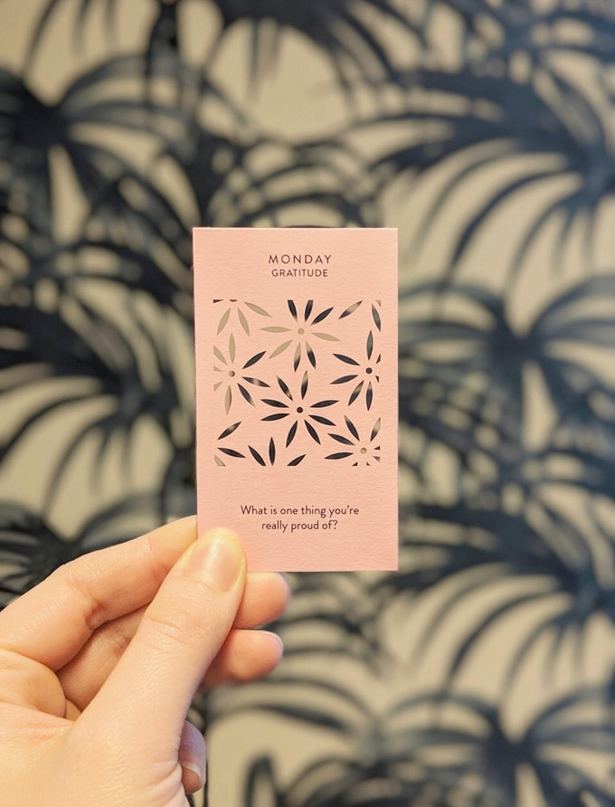 Monday - Gratitude (laser cut cards with printed affirmations for every day of the week)
