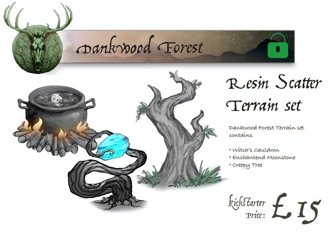 Dankwood Forest contains: Witches Cauldron, Enchanted Moonstone, Creepy Tree. Made from high quality resin.