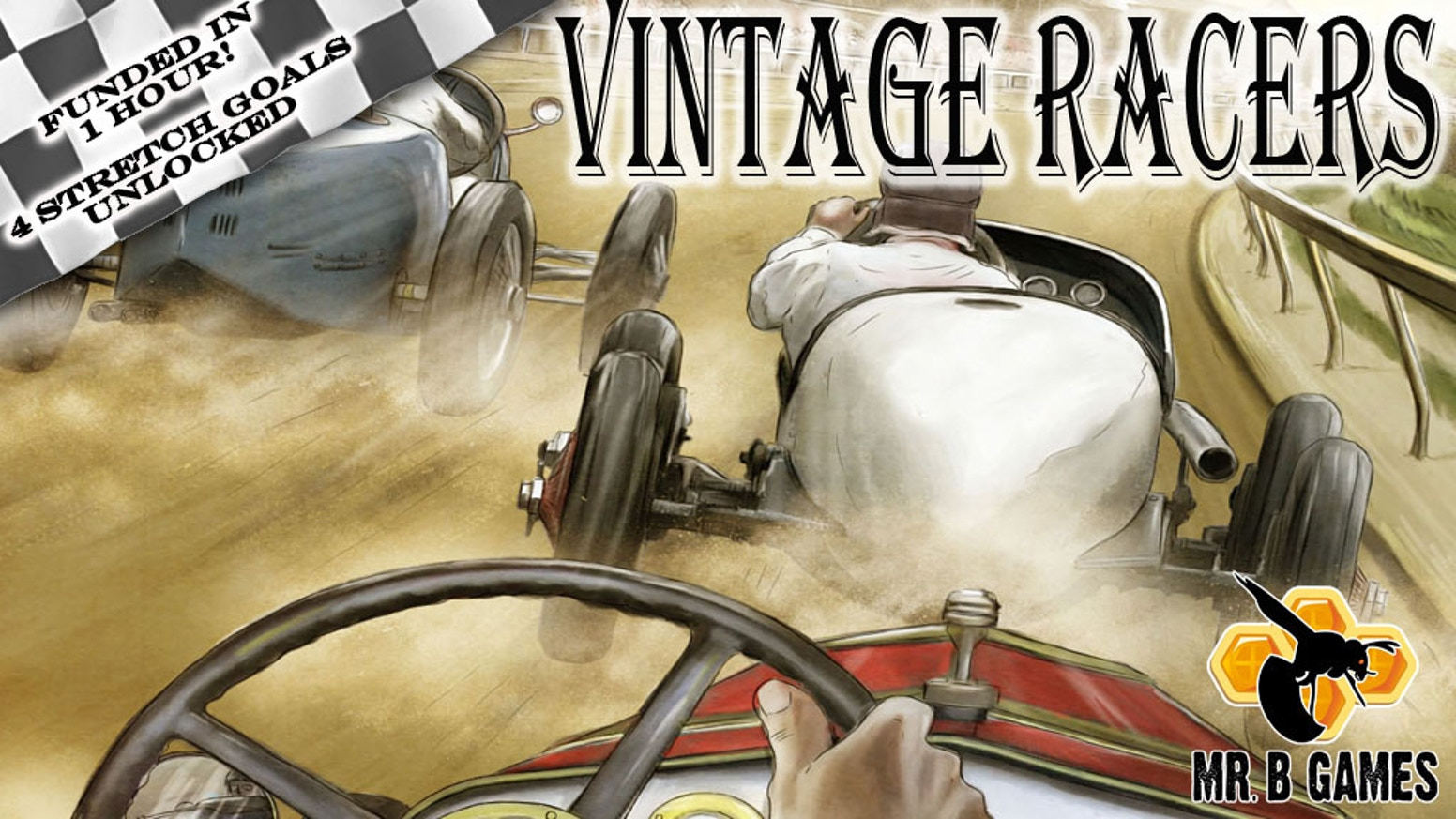 Vintage Racers is a micro game for 2-4 players (but up to 8 with 2 sets!) that relives the early days of racing in 15 minutes!