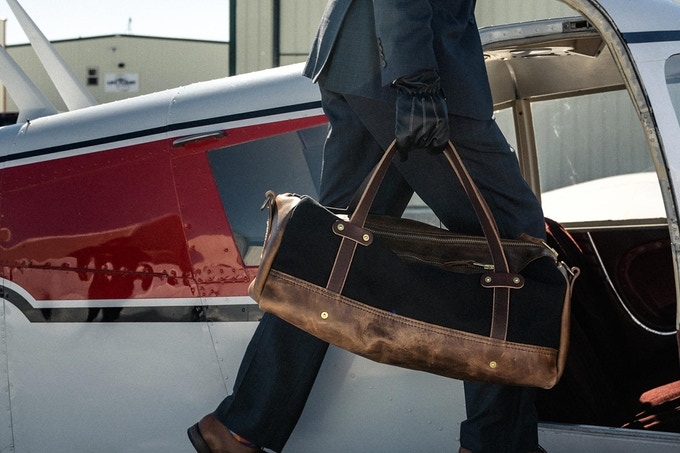Weekender Duffel in Black and Tan