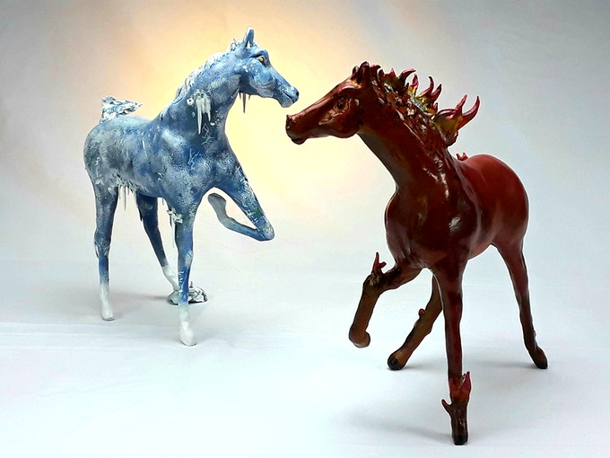 Sculptures created using the new Original Horse art kit.
