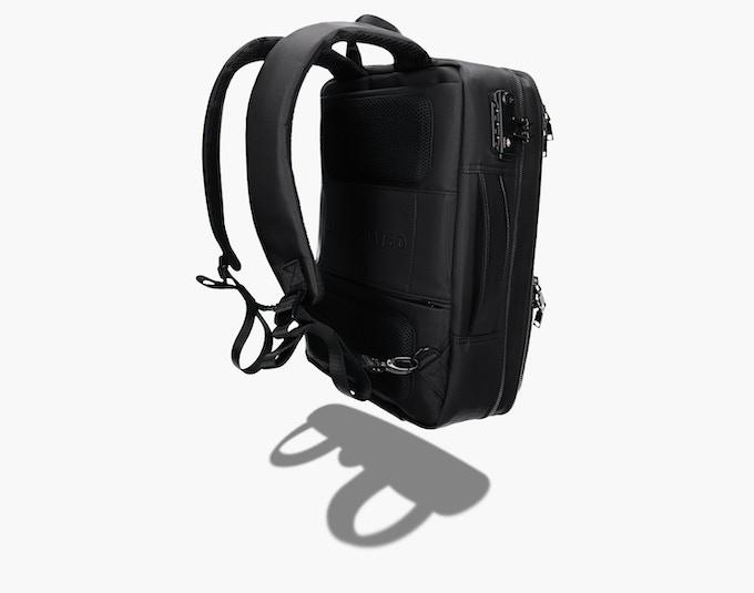 Concealed pocket for strap storage.