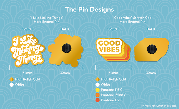 Mock up of pin designs
