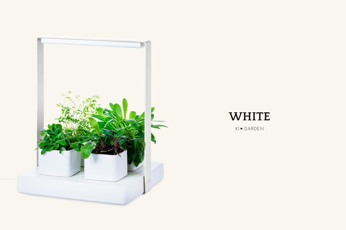 Kigarden White with four ceramic handmade clay pots.