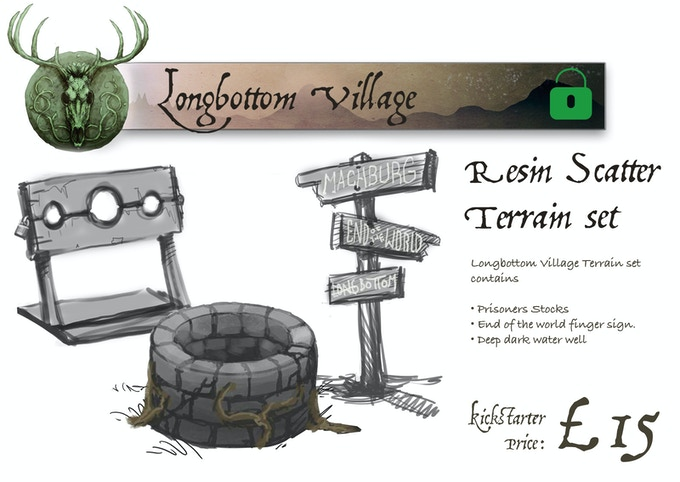 Longbottom Village contains: Water Well, Finger Sign and Prisoner Stocks. Made from High Quality Resin. Items may vary as design process is ongoing at campaign end.