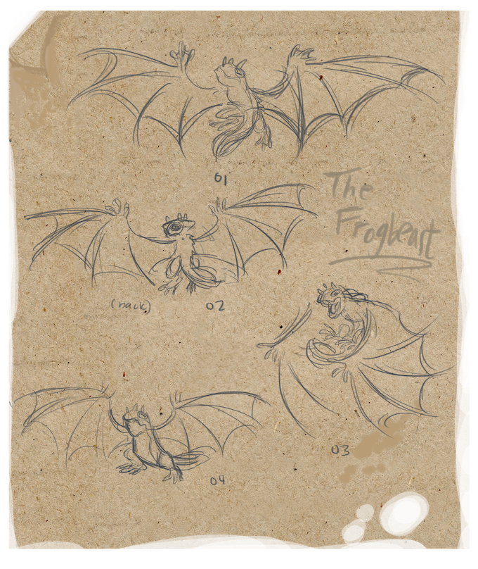 Sketches of four different poses of a Frogbeast in flight