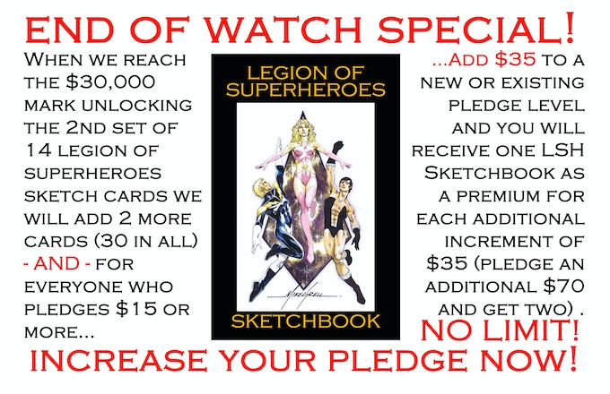 EVERYONE can get the LEGION Sketch Book now, by simply adding $35 to any pledge level or first time pledges of over $15!